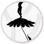 Silhouette Of A Girl Stood On Top Of A Flower Round Beach Towel