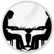 Silhouette Of Chess Players, Around 1845 Round Beach Towel