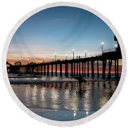 Silhouette Of Surfer At Huntington Round Beach Towel