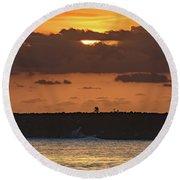 Silhouettes, Breakwall And Sunrise Seascape Round Beach Towel