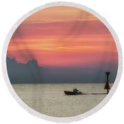Round Beach Towel featuring the photograph Silhouette's Sailing Into Sunset by Nathan Bush
