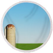 Silo On Blue And Green Round Beach Towel