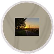 Silver Lines Round Beach Towel