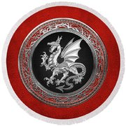 Silver Winged Norse Dragon - Icelandic Viking Landvaettir On Black And Silver Medallion Over Red  Round Beach Towel