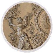 Silverwork Design Depicting A Cherub With Acanthus Leaves Circa 1800 Round Beach Towel