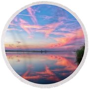 Round Beach Towel featuring the photograph Simple Reflections by Russell Pugh