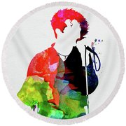 Simply Red Watercolor Round Beach Towel