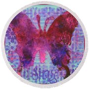 Sing Butterfly Round Beach Towel