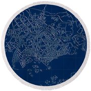 Singapore Blueprint City Map Round Beach Towel