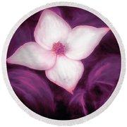 Single Dogwood Flower Purple Round Beach Towel