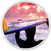Single Fin Surfer - Square Format Round Beach Towel