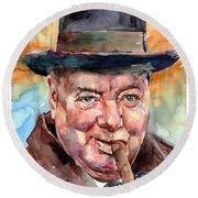 Sir Winston Churchill In His Hat Round Beach Towel