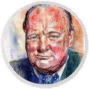 Sir Winston Churchill Portrait Round Beach Towel