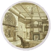 Sitting Room Of Bardwold, Merion Pa Round Beach Towel
