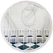 Round Beach Towel featuring the photograph Six Rodin Chairs by Craig J Satterlee