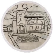 Sketch Of Arch Laguna Del Sol Round Beach Towel