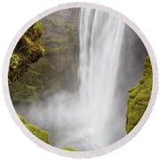 Round Beach Towel featuring the photograph Skogafoss Iceland by Nathan Bush