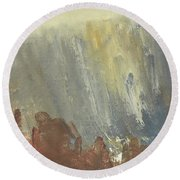 Skogklaedd Fjaellvaegg I Hoestdimma- Mountain Side In Autumn Mist, Saelen _1237, 90x120 Cm Round Beach Towel