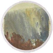 Skogklaedd Fjaellvaegg I Hoestdimma- Mountain Side In Autumn Mist, Saelen _1237, Up To 90x120 Cm Round Beach Towel