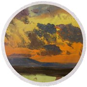 Sky At Sunset, Jamaica, West Indies - Digital Remastered Edition Round Beach Towel