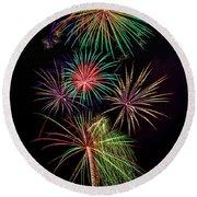 Sky Full Of Exploding Fireworks Round Beach Towel