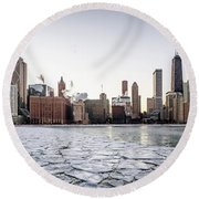 Skyline And Cracks In The Water Round Beach Towel