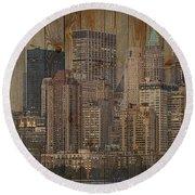 Skyline Of New York, Usa On Wood Round Beach Towel