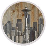 Skyline Of Seattle, Usa On Wood Round Beach Towel