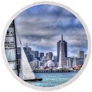 Round Beach Towel featuring the photograph Skyline Sail  San Francisco Ca by Wayne King