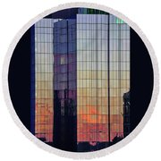 Skyscraper Sunset Round Beach Towel