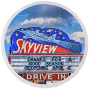 Skyview Drive-in Theater Neon Sign Round Beach Towel