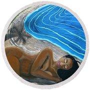 Sleeping Nude Round Beach Towel