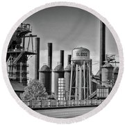 Sloss Furnaces Towers Round Beach Towel