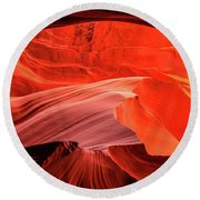Slot Canyon Waves 1 Round Beach Towel