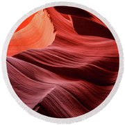 Slot Canyon Waves 2 Round Beach Towel