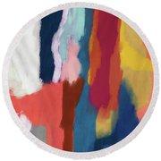 Slow Burn 2- Abstract Art By Linda Woods Round Beach Towel