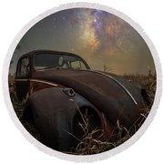 Round Beach Towel featuring the photograph Slug Bug 'rust' by Aaron J Groen