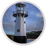 Smeaton's Pier Lighthouse Round Beach Towel