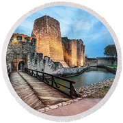 Smederevo Fortress Gate And Bridge Round Beach Towel