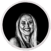 Smile In Dark Portrait Round Beach Towel