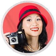 Smiling Woman Holding Retro Camera In Hand Round Beach Towel