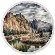 Smith Rock State Park 4 Round Beach Towel