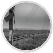 Smoke Haze Over The Prairie Round Beach Towel