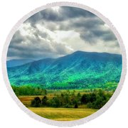Smoky Mountain Farm Land Round Beach Towel