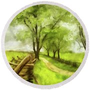 Snake Rail Fences At Antietam Round Beach Towel