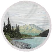 Round Beach Towel featuring the painting Snake River Yukon by Kenneth M Kirsch