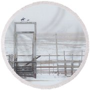Round Beach Towel featuring the photograph Snow And Corral 01 by Rob Graham