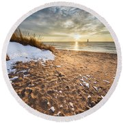 Snow And Sand In Frankfort Round Beach Towel