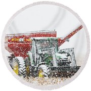 Round Beach Towel featuring the photograph Snow And Tractor 02 by Rob Graham