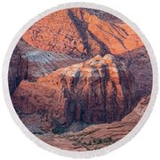 Snow Canyon Red Rock Canyon Walls Round Beach Towel